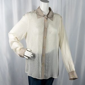 Tory Burch Sheer Cream & Black Striped Blouse 14